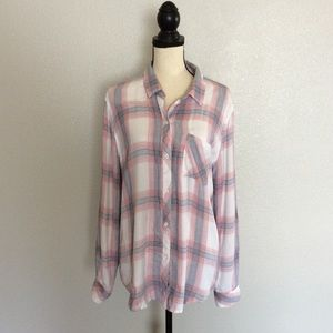 Rails Hunter White Peony Button Up Blouse